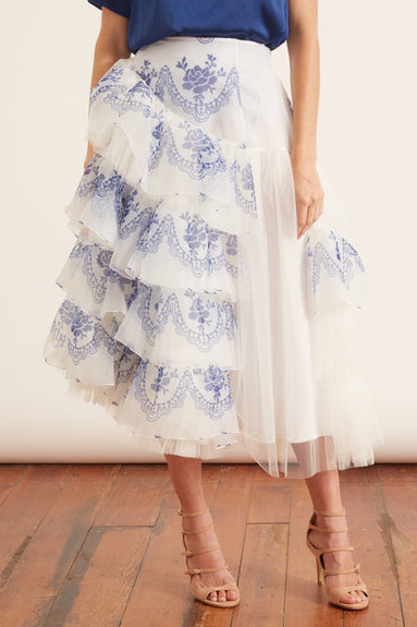 Asymmetric Side Frill Full Skirt in Blue/Ivory
