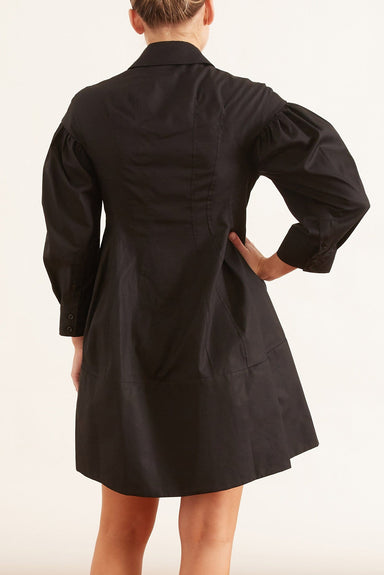 Corset Detailed Shirt Dress in Black
