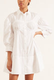 Corset Detailed Shirt Dress in White