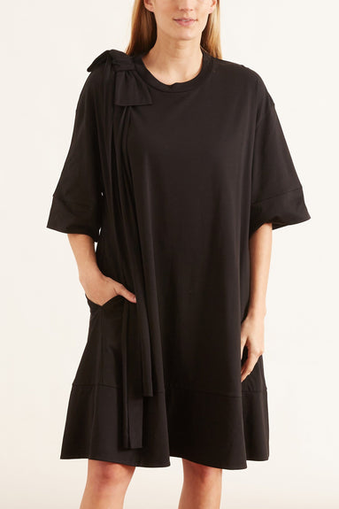 Shoulder Bow Tunic Dress in Black