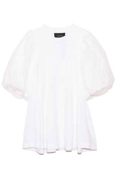 A-Line Tulle Overlay Sleeve Top in White