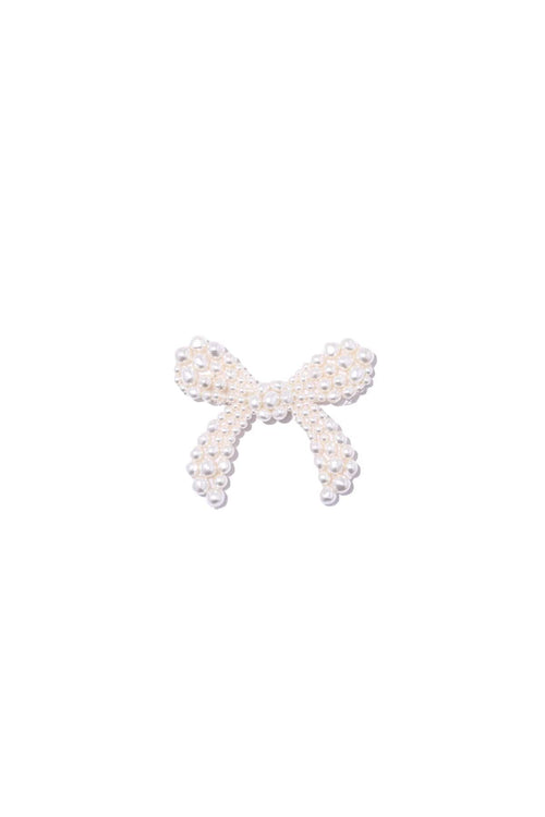 Beaded Bow Brooch in Pearl