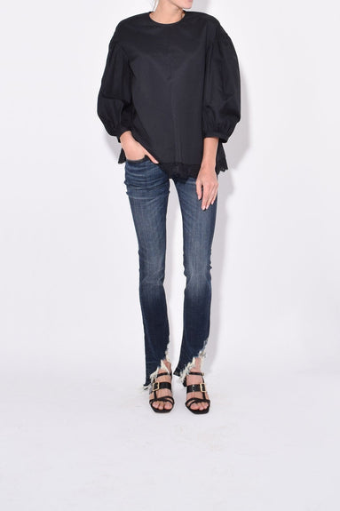 Dropped Sleeve Blouse in Black