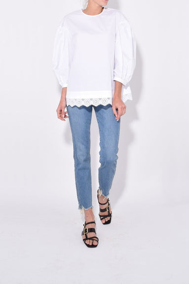 Dropped Sleeve Blouse in White