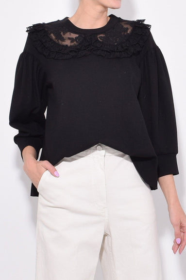 Frilly Lace Collar Top in Black