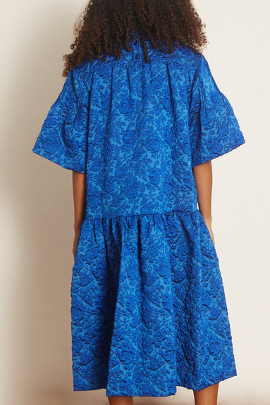 Long Gathered Dress in Blue