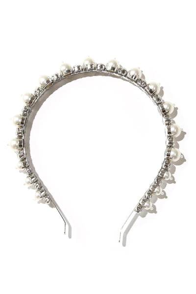 Pearl and Crystal Hairband in Silver/White