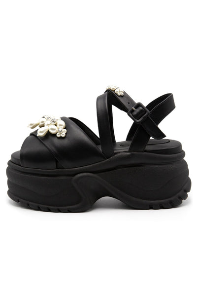 Platform Track Sole Embellished Sandal in Black/Pearl