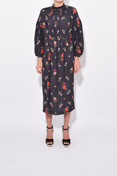 Polo Neck Dress in Dark Flower
