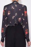 Polo Neck Top in Dark Flower