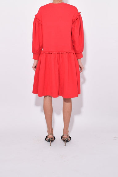 Side Frill Dress in Red