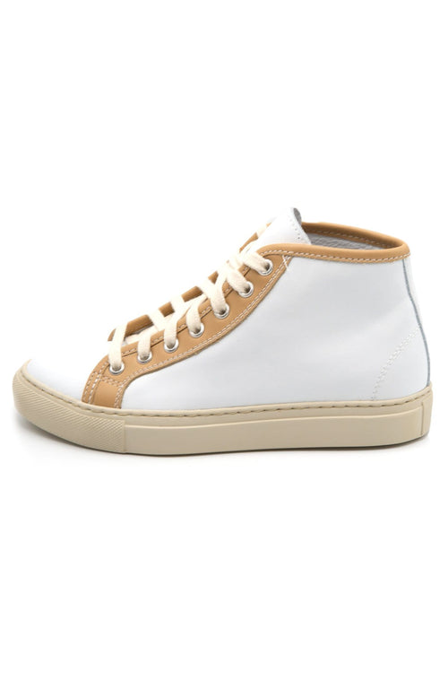 Fyodor Leather High-Top Sneakers in White/Sand