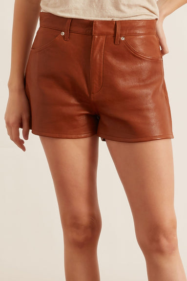 5 Pocket Leather Shorts in Cognac