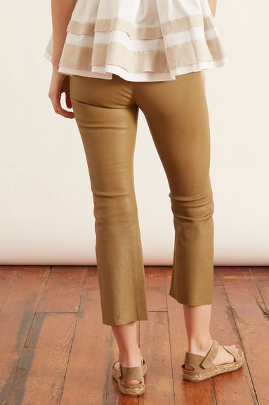 High Waist Crop Flare Legging in Sand