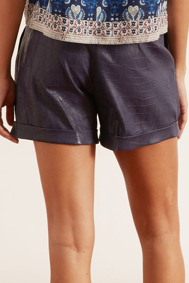 Leather Trouser Short in Navy Croc
