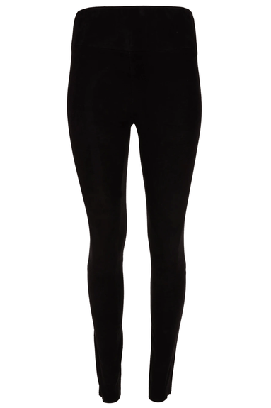 High Waist Ankle Legging in Black Suede