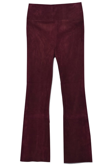 High Waist Crop Flare Legging in Burgundy Suede