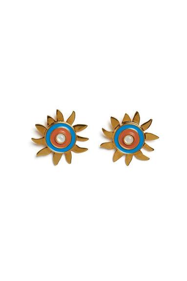 Corsica Sun Earrings in Blue/Burnt Orange