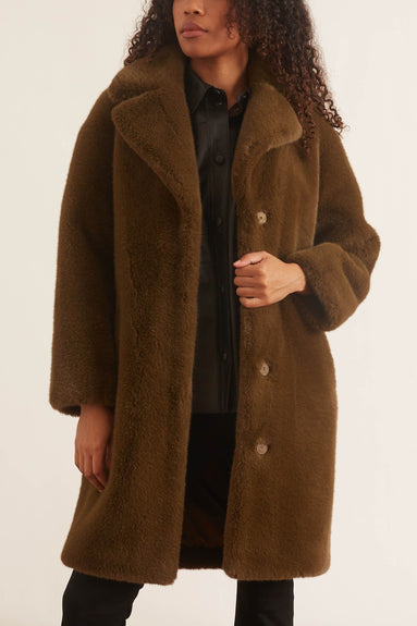 Camille Cocoon Coat in Army Green