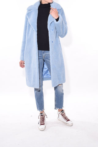 Camille Cocoon Coat in Sky Blue