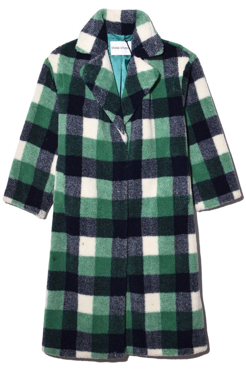 Maria Coat in Green/Navy/White Check