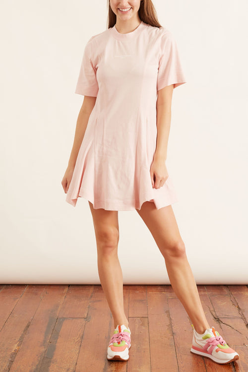 Drape Stella Logo Dress in Pale Pink
