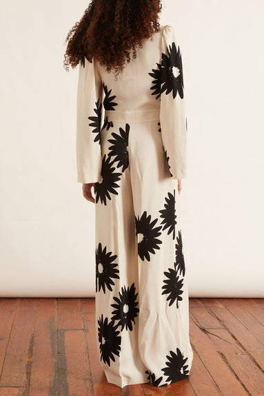 Elle All in One Satin Jumpsuit in Floral Sable Envers Print