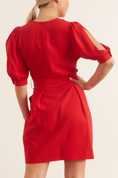 Jordan Silk Crepe de Chine Dress in Power Red