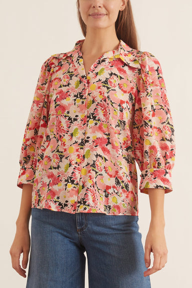 Reese Watercolor Shirt in Floral Silk Print
