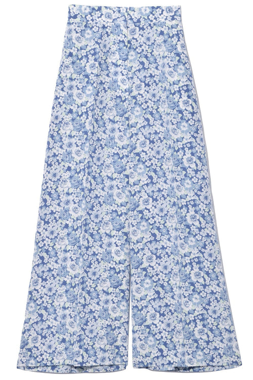Ditsy Floral Crepe de Chine Trouser in Multicolor Blue