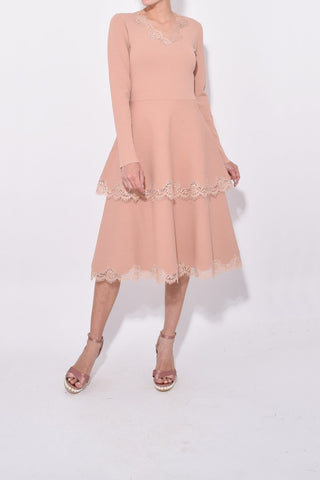 Long Sleeve Tiered Dress in Old Rose