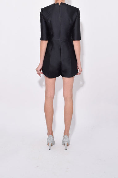 Mid Sleeve Short Jumpsuit in Black