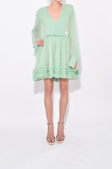 Washed Crinkle Chiffon Dress in Green