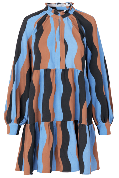 Jasmine Dress in Wavy Stripes Blue