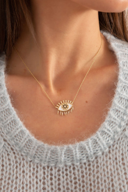 Kaleidoscope Eye Fringe Necklace in Yellow Gold