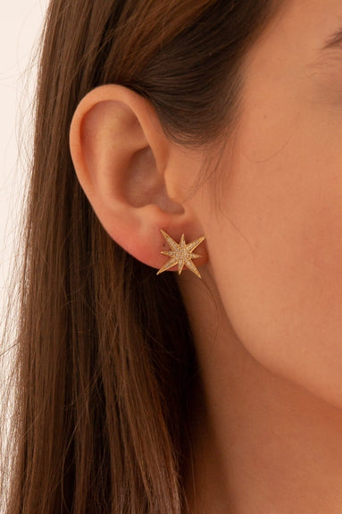Medium Starburst Studs in Yellow Gold