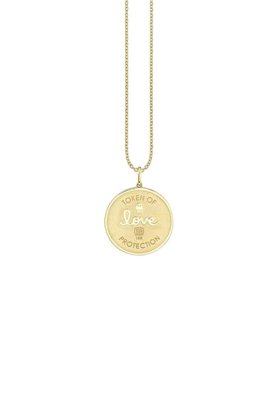 Evil Eye Coin Necklace in Yellow Gold