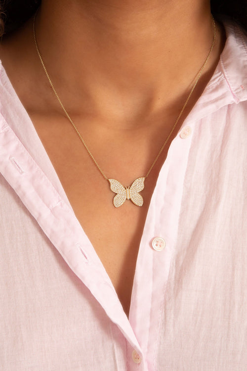Large Pave Butterfly Necklace in Yellow Gold