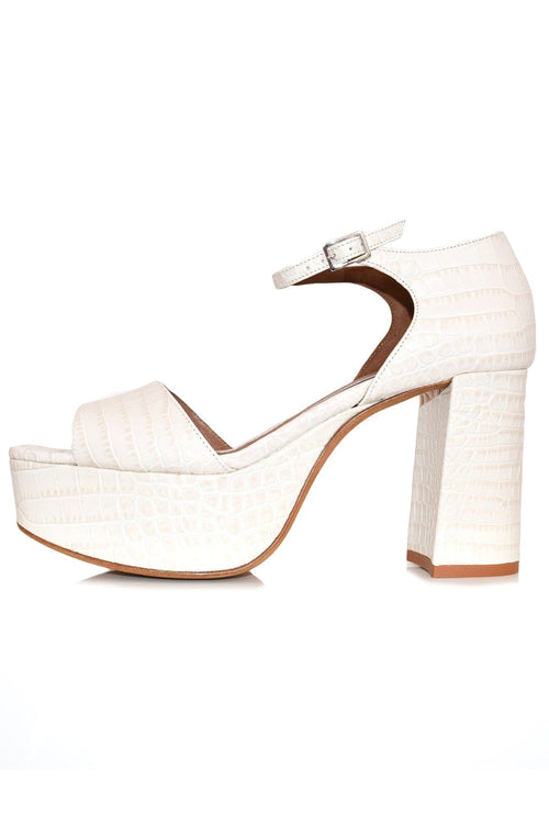 Patton Sandal in Bone Croc