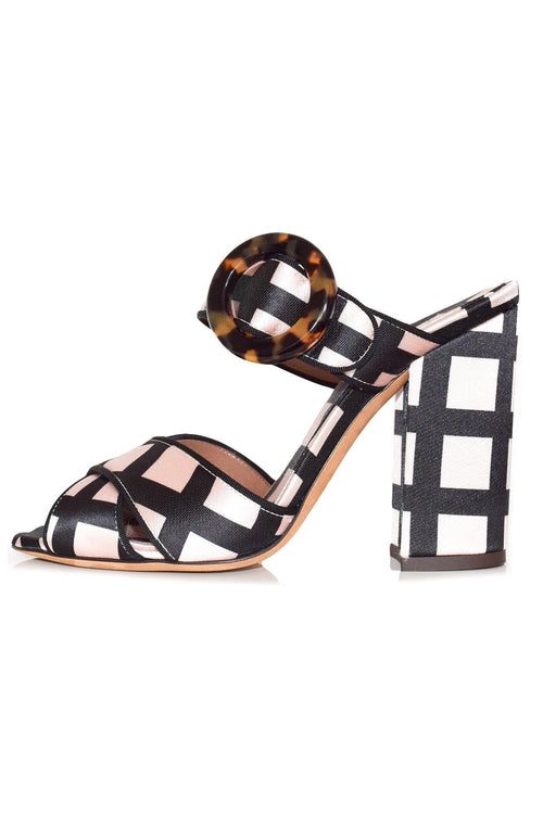 Reyner Block Heel in Ecru/Black Check