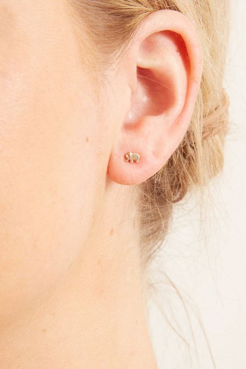 Elephant Studs in Yellow Gold