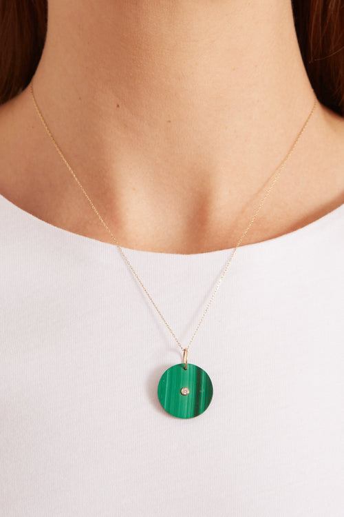 Green Malachite Pendant on Chain