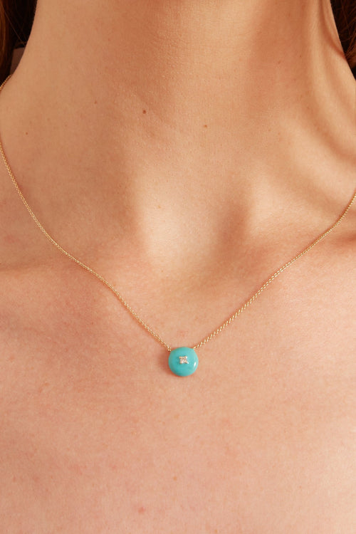 Turquoise Enamel with Diamond Necklace