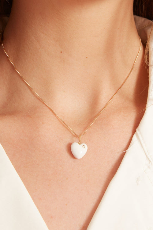 White Enamel Puffy Heart Ball Chain Necklace