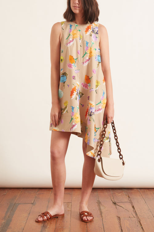 Arya Print Sleeveless Dress in Khaki Multi