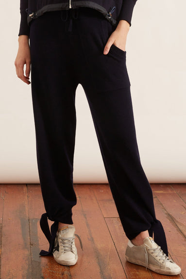 Cashmere Tie Lounge Sweatpants in Navy