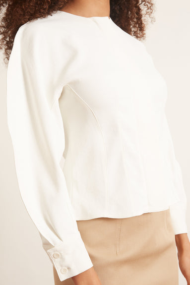 Chalky Drape Corset Top in White