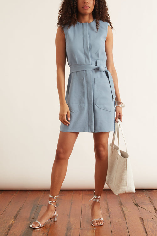 Chalky Drape Short Shirtdress in Sea Blue