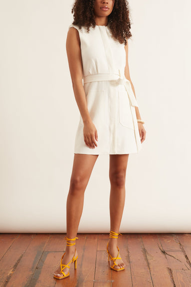Chalky Drape Short Shirtdress in White
