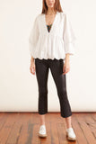 Eco Poplin Deep V-Neck Sculpted Tucked Sleeve Top in White